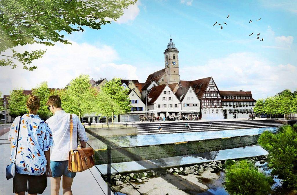Breite Sitzstufen würden  am Stadteingang den Zugang zum Neckar ermöglichen. So soll der Fluss durch die Landesgartenschau erlebbarer werden. Foto: Planstatt Senner