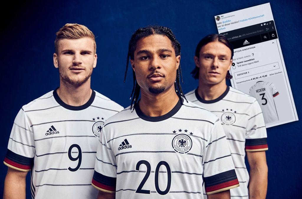 Mit diesen Trikots laufen Timo Werner, Serge Gnabry und Nico Schulz (v.l.n.r.) bei der EM 2020 auf. Foto: adidas/dpa