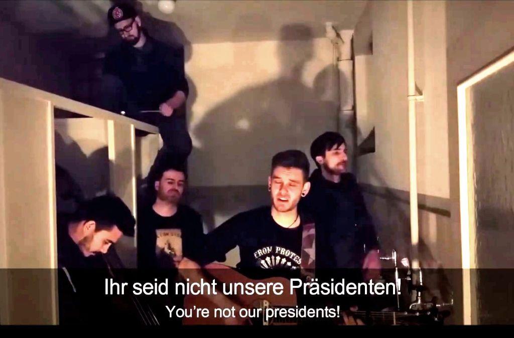 Die Stuttgarter Band Antiheld wendet sich mit ihrem Song Ihr seid nicht unsere Präsidenten wortstark gegen Trump und Co. Foto: Antiheld bei Facebook
