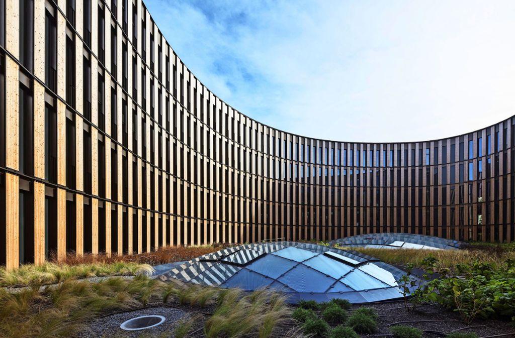 Das Technische Rathaus in Freiburg hat zwei Preise für seinen klimapositiven Charakter bekommen. Foto: privat/HGEsch, Hennef