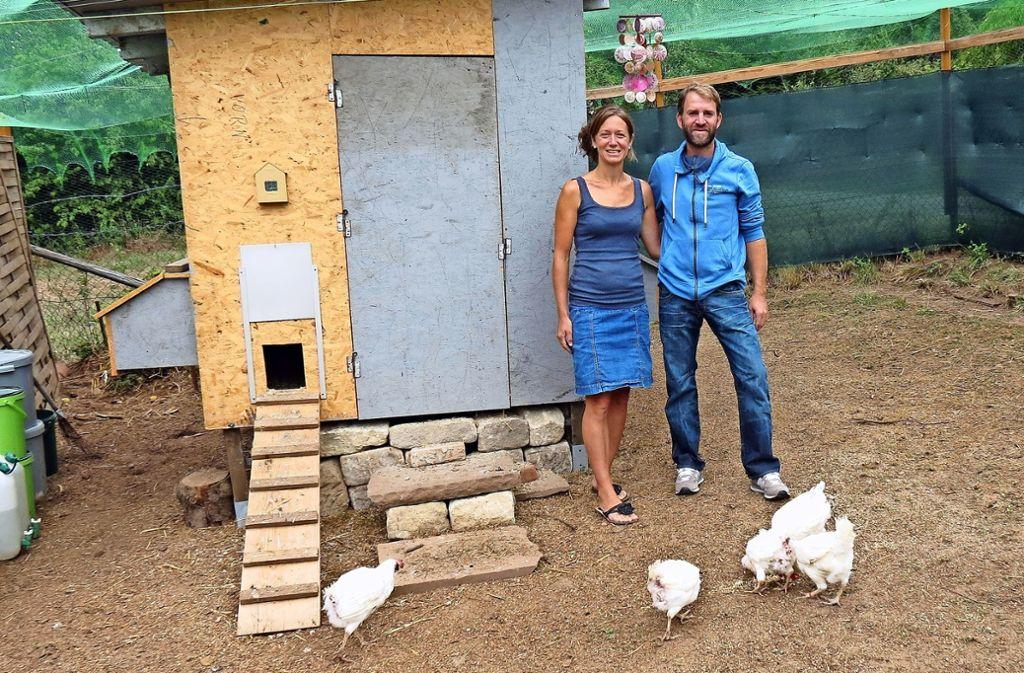 Tanja und Jochen Rieger leben in Hoffeld und haben ein Stückle im Ramsbachtal. Dort halten sie seit Kurzem Hühner. Foto: Julia Bosch