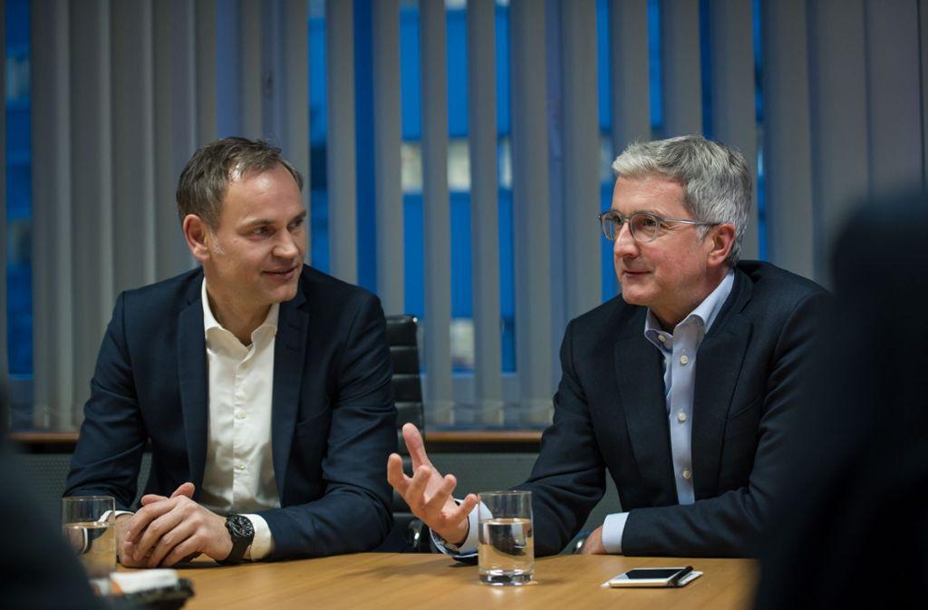 Verstehen sich gut: Porsche-Chef Oliver Blume und Audi-Chef Rupert Stadler Foto: Lichtgut/Max Kovalenko