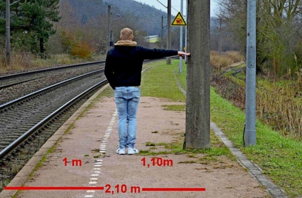 So stellt der Schultes von Hegne das Problem an seinem Bahnsteig dar. Foto: Gemeinde Allensbach