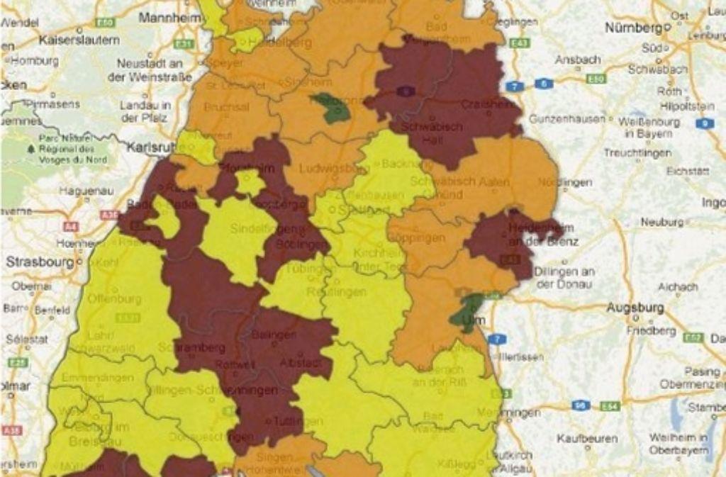 Zwei interaktive Karten veranschaulichen die Klinikversorgung im Land. Foto: StZ