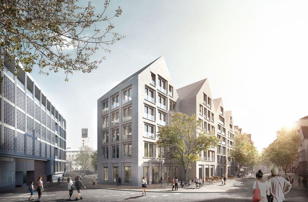So stellt sich der   Frankfurter Architekt Jo Franzke  die  Giebelhäuser an der Eberhardstraße vor. Foto: loomn architektur visualisierung Jost Hauer