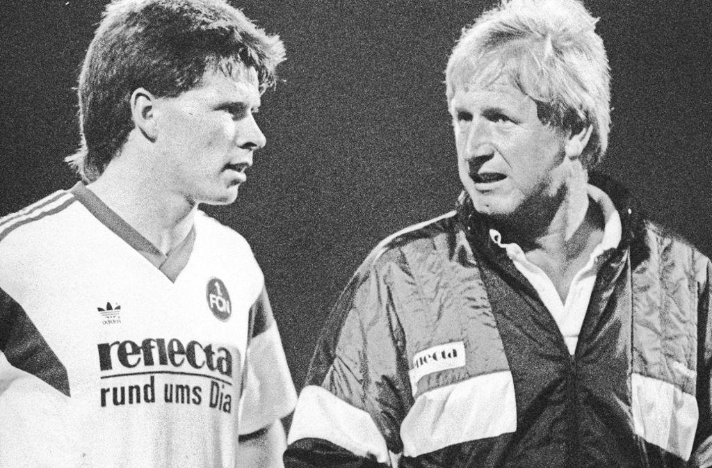 Trainer Heinz Höher (re.) formte auch Stefan Reuter zum Nationalspieler. Foto: imago/Rust