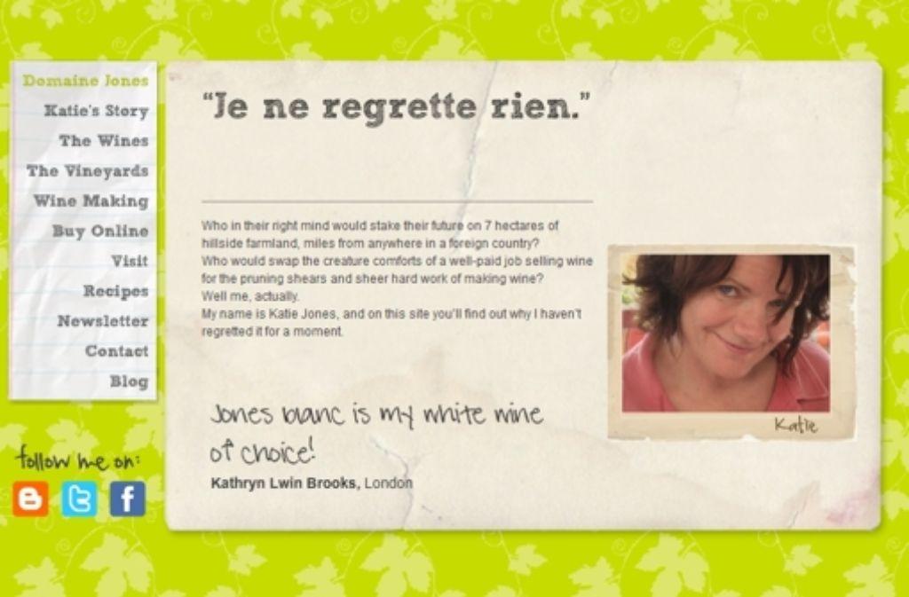 """Die Homepage von Katie Jones: """"Je ne regrette rien"""" – ich bereue nichts Foto: StN"""
