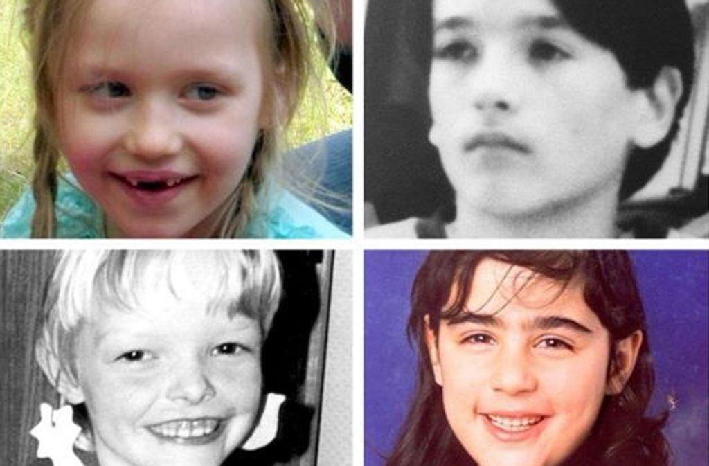 Vermisste Kinder: Inga Gehrike aus Stendal (oben links) – vermisst seit 2. Mai 2015. Manuel Schadwald aus Berlin (oben rechts) – vermisst seit 24. Juli 1993. Seike Sörensen aus Drelsdorf (unten links) – vermisst seit 5. August 1993. Hilal Ercan aus Hamburg (unten rechts) – vermisst seit 27. Januar 1999. Foto: dpa