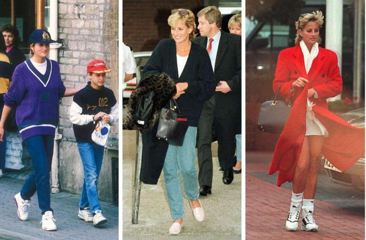 Könnte man genau jetzt alles wieder so tragen. Lady Di taugt auch in ihren Freizeitoutfits als Stilvorbild. Weitere Inspiration finden Sie in unserer Bildergalerie. Foto: AFP, imago