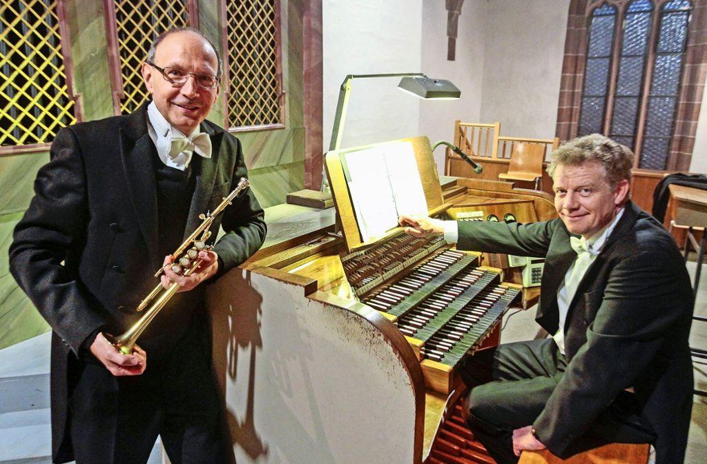 """Neujahrskonzert in der Peter-und-Paul-Kirche,  """"Im Glanz der Trompete"""", mit Bernhard Kratzer und Paul Theis (Orgel). Foto: factum/Bach"""