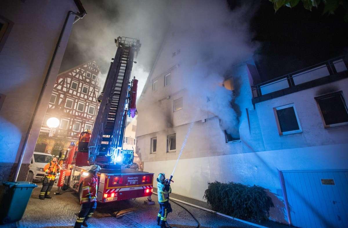 Die Brandanschläge in der Marbacher Altstadt im Oktober 2020 – der Brandstifter ist jetzt zu einer langjährigen Haftstrafe verurteilt worden. Foto: dpa/Simon Adomat
