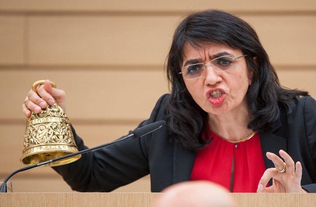 """Landtagspräsidentin Muhterem Aras sieht die bisher """"höchste Eskalationsstufe"""" im Parlament erreicht. Foto: dpa"""