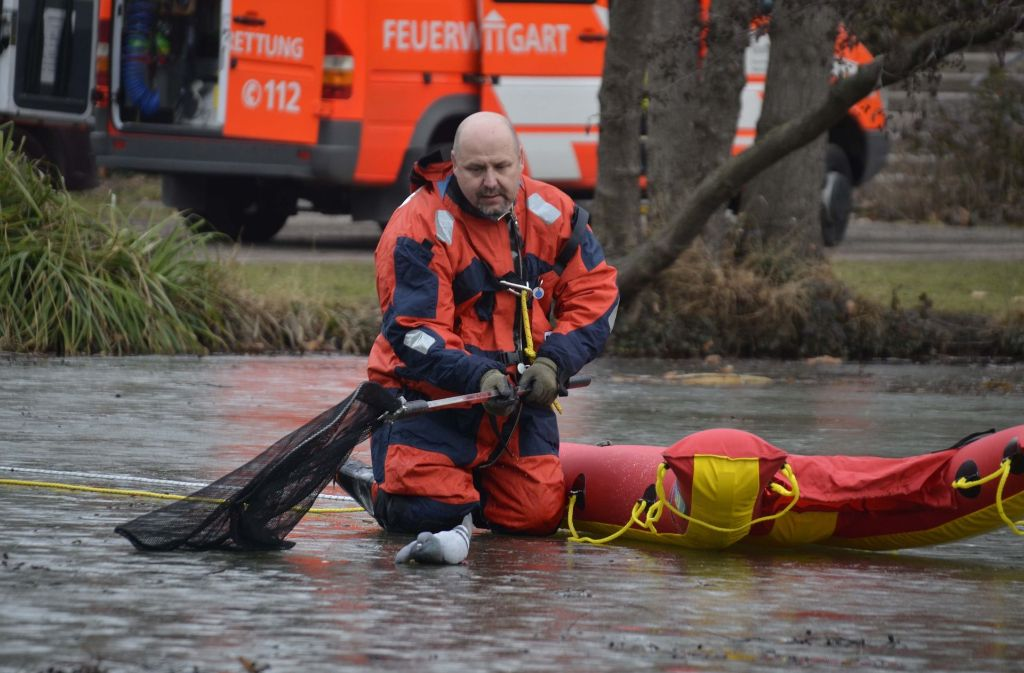 Ein Retter kommt im Schlossgarten Stuttgart einer Taube zu Hilfe. Foto: Andreas Rosar