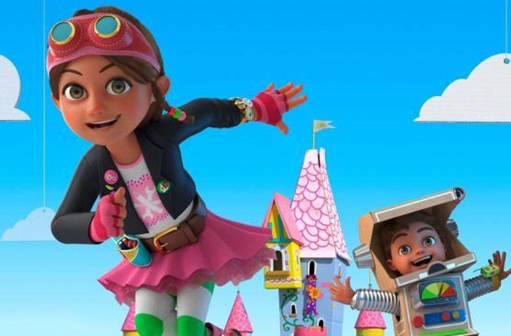 Bitz die Ingeneurin trägt zwar Rosa, aber davon sollte man sich nicht täuschen lassen. Sie ist keine Prinzessin, die auf ihren Prinzen wartet, sondern eine patente Problemlöserin. Foto: Jellyfish Animation/CBeebies/FME