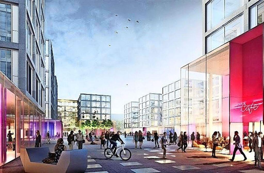 Mit dem Büroareal  von Daimler keimt die Hoffnung auf Einkaufsmöglichkeiten im Synergiepark Foto: O&O Baukunst/Finest Images