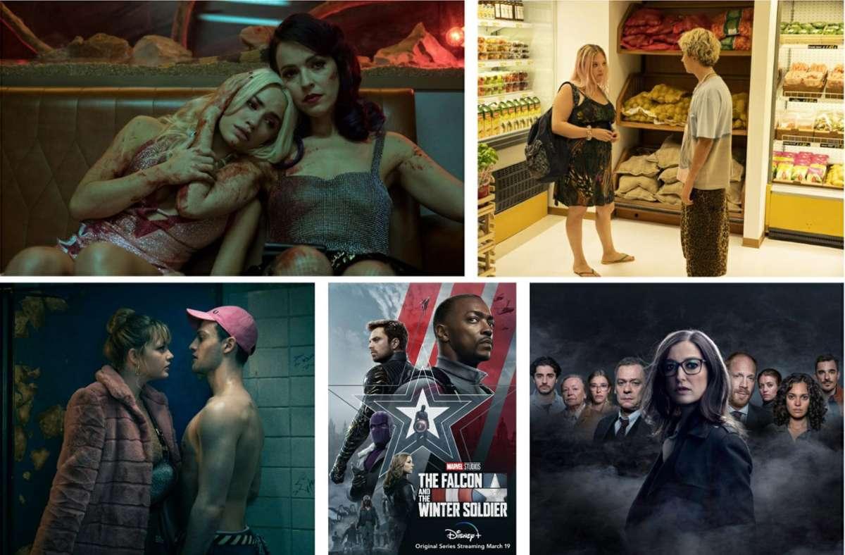 """Dies und noch einiges mehr bietet der März: """"Sky Rojo"""", """"We are who we are"""", """"8 Zeugen"""", """"The Falcon and the Winter Soldier"""" und """"Katakomben"""" (von links oben im Uhrzeigersinn). Unsere Bildergalerie verrät, welche zehn Serien Sie in diesem Monat im Blick haben sollten. Foto: Netflix, Starzplay, TV Now, Disney+, MagentaTV"""