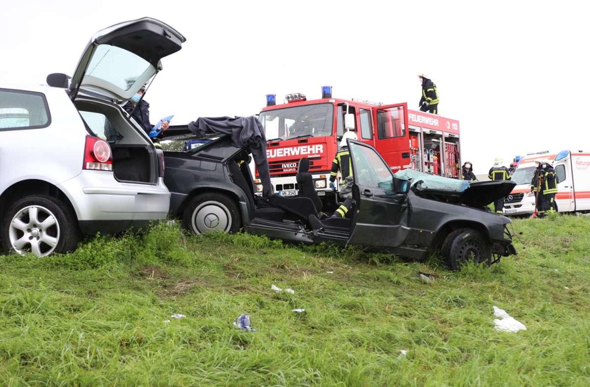Bei dem Unfall in Waiblingen sind vier Menschen verletzt worden. Foto: 7aktuell.de/Kevin Lermer