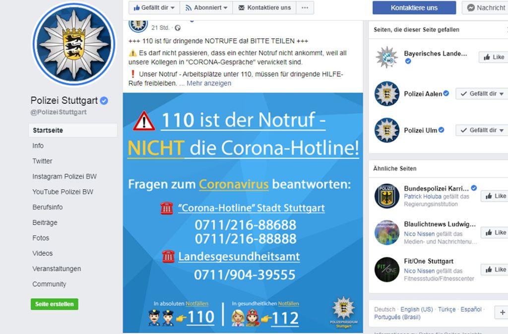 Die Polizei bittet darum, den Notruf nur in Notfällen anzurufen. Foto: Polizei Stuttgart/Screenshot red