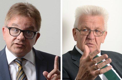 Guido Wolf und Winfried Kretschmann legten sich beim Wahlkampffinale nochmal richtig ist Zeug. Foto: dpa