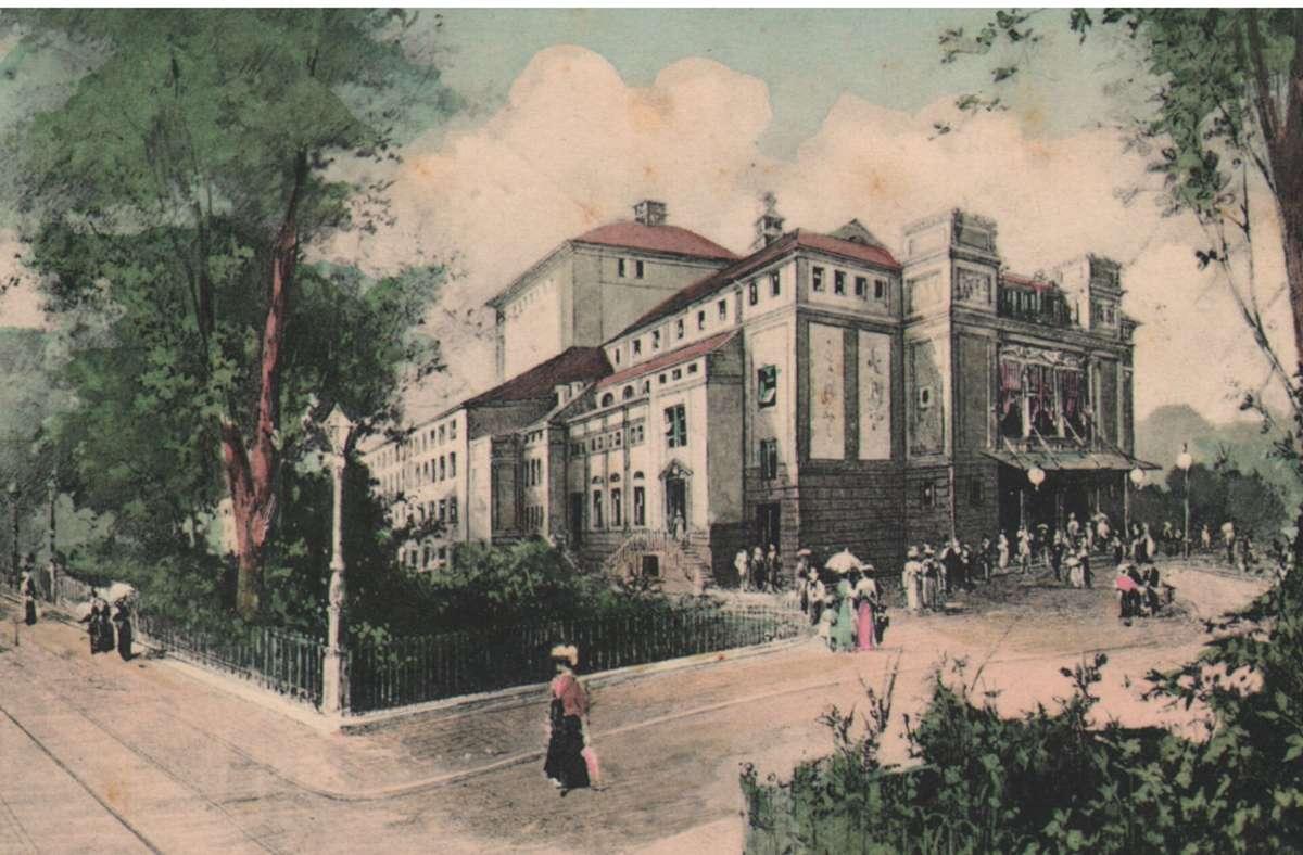 Das Interimstheater ist nach dem Brand des Hoftheaters  1902 auf dem Gelände des heutigen Landtags bezogen worden.. Foto: S/ungen  Wolfgang Müller/Michaela Klapka