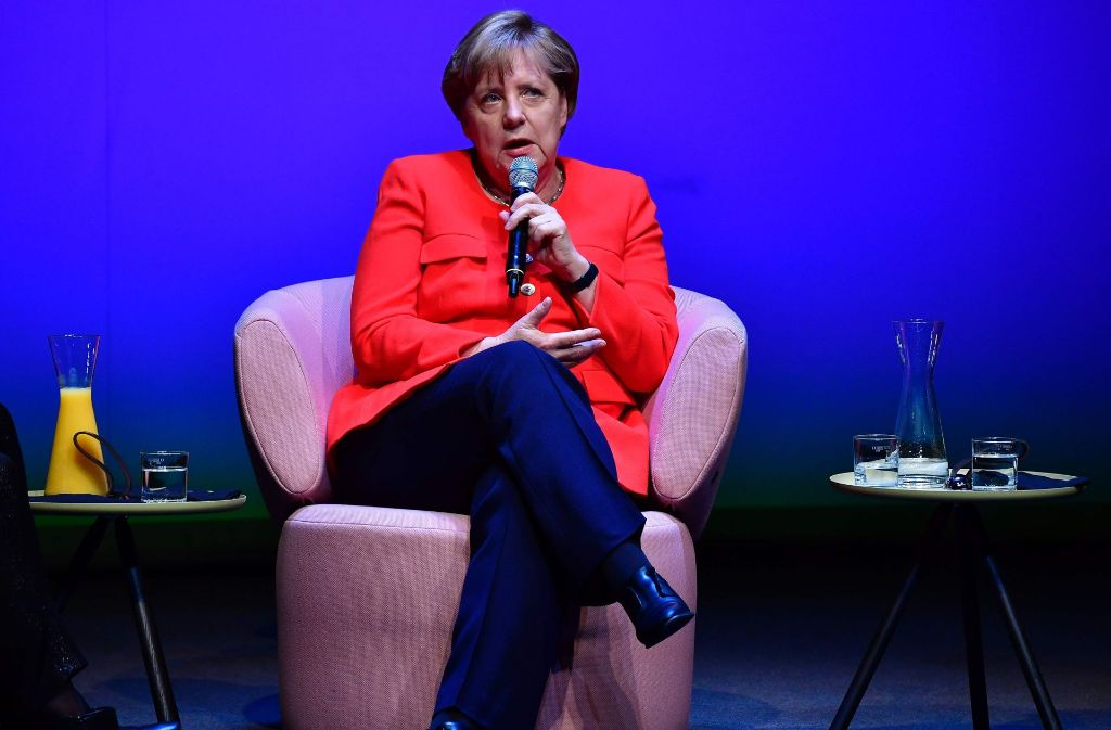 "Angela Merkel beim ""Brigitte""-Talk in Berlin Foto: AFP"