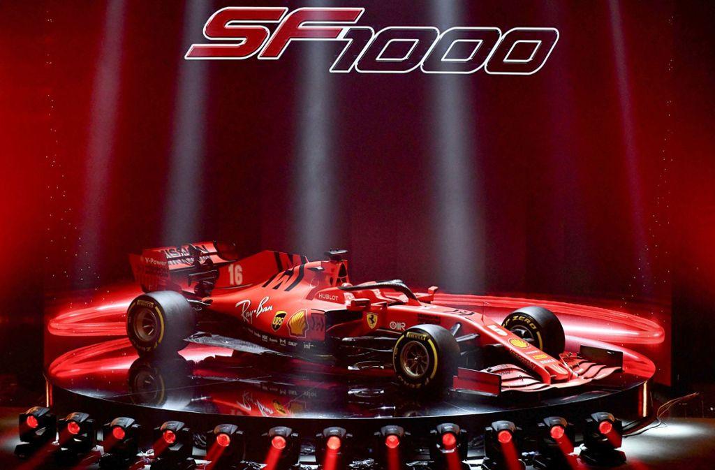 Eine spektakuläre Bühne für Ferraris neuen Rennwagen. Foto: AFP