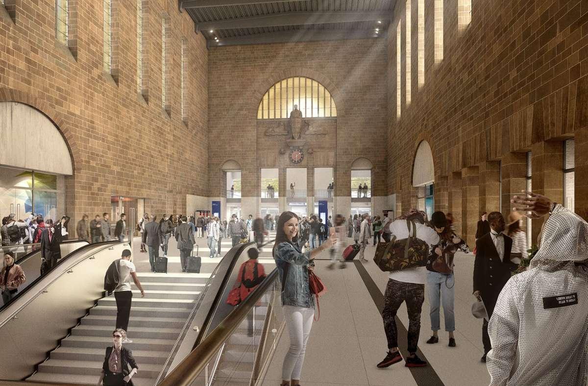 Die große Schalterhalle wird nach dem Umbau einen Durchgang auf die Verteilebene des Tiefbahnhofs erhalten. Foto: DB/planb agentur