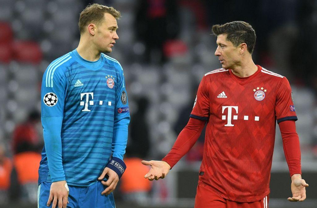 Münchner Ratlosigkeit: Manuel Neuer (li.) mit Robert Lewandowski Foto: AFP