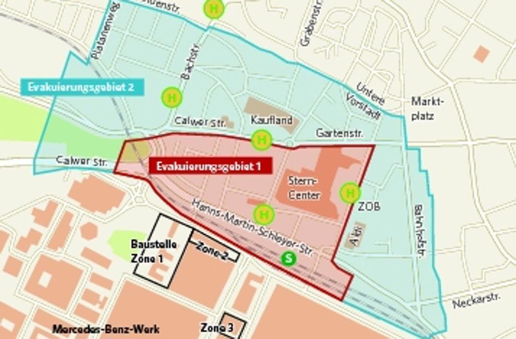 Die Stadt hat im Fall eines Bombenfunds zu evakuierende Wohngebiete in zwei Zonen aufgeteilt. Foto: Grafik Zapletal