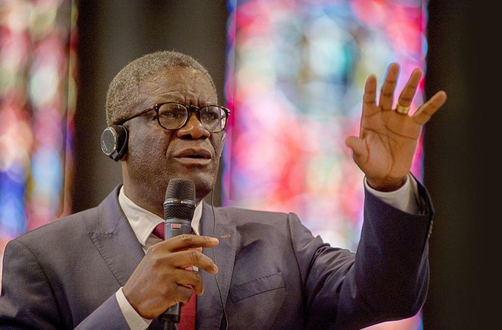 """""""In den Gebieten mit Bodenschätzen gibt es besonders viel  sexuellen Missbrauch"""", sagt der kongolesische Friedensnobelpreisträger Denis Mukwege in Stuttgart. Foto: Lichtgut/Leif Piechowski"""