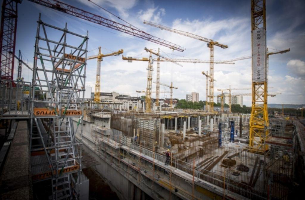 Man sei mit dem Milaneo im Bauverlauf schneller als ursprünglich geplant vorangekommen, hatte die ECE als künftige Betreiberin Mitte März vermeldet. Foto: Achim Zweygarth