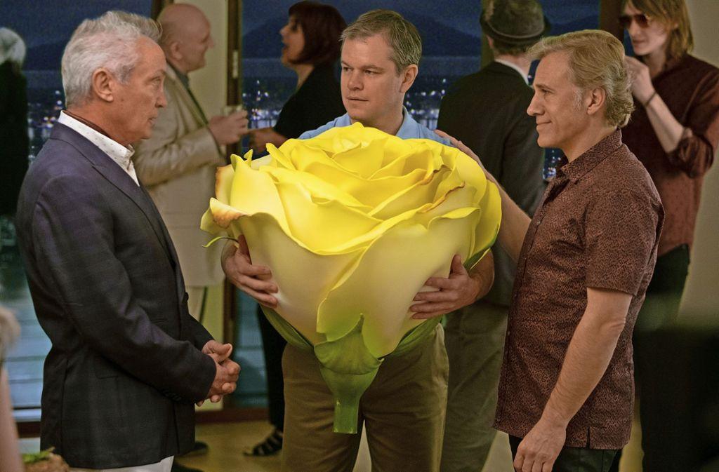 """Udo Kier, Matt Damon und Christoph Waltz (v. li.) als Geschrumpfte in """"Downsizing"""" Foto: Verleih"""