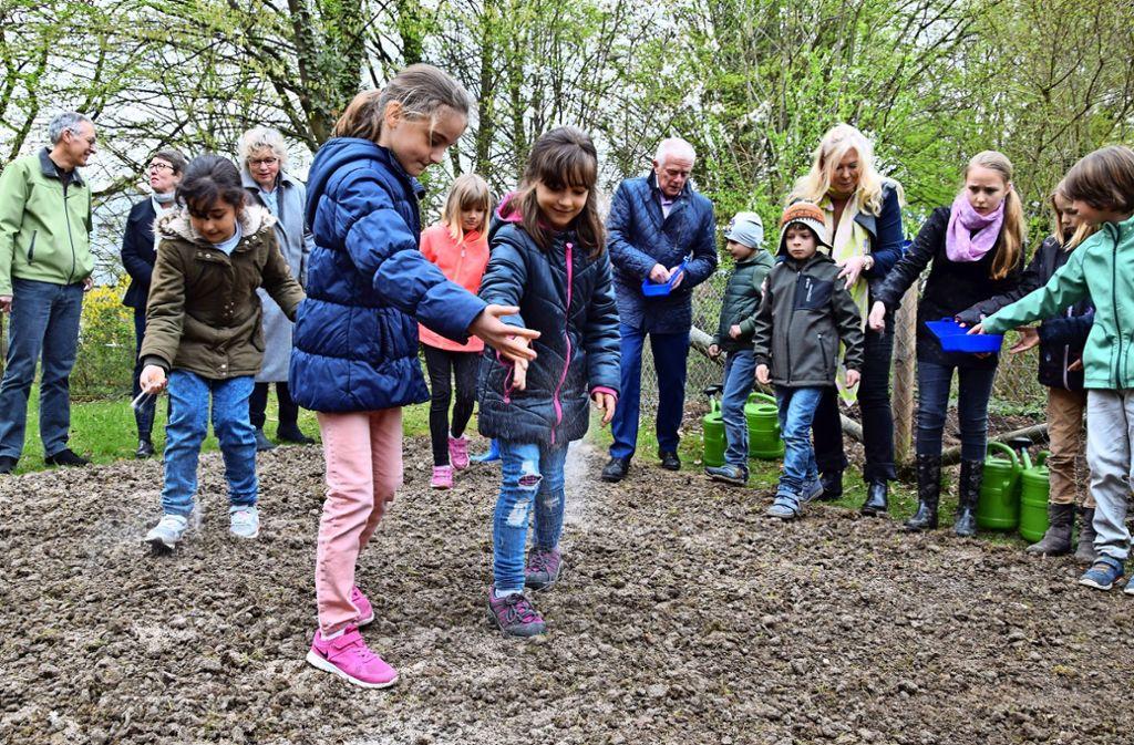 Die Mädchen und Jungen der Riedseeschule haben am Mittwochvormittag zusammen mit OB Fritz Kuhn (im Hintergrund Mitte) eine Blumenwiese gesät. Foto: Alexandra Kratz