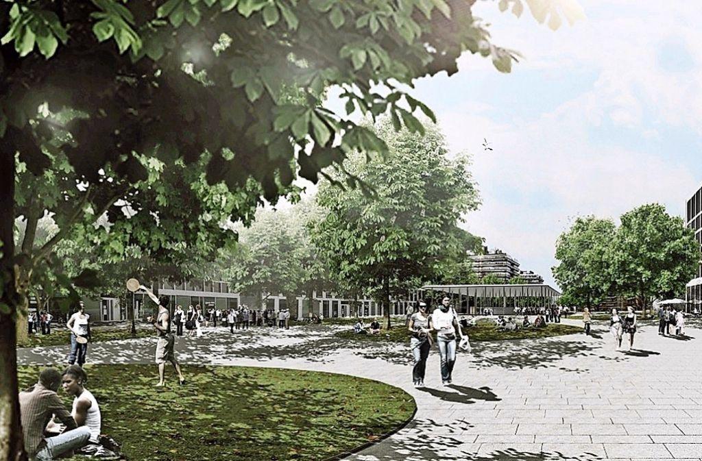 So stellen sich die Planer die neue Mitte des Vaihinger Campus vor: offen, lebendig und vielleicht auch mit einem Café. Foto: Uni Stuttgart