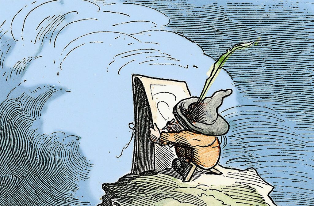 """Ausschnitt aus Wilhelm Buschs """"kleinem Maler mit der großen Mappe"""" Foto: Katalog"""