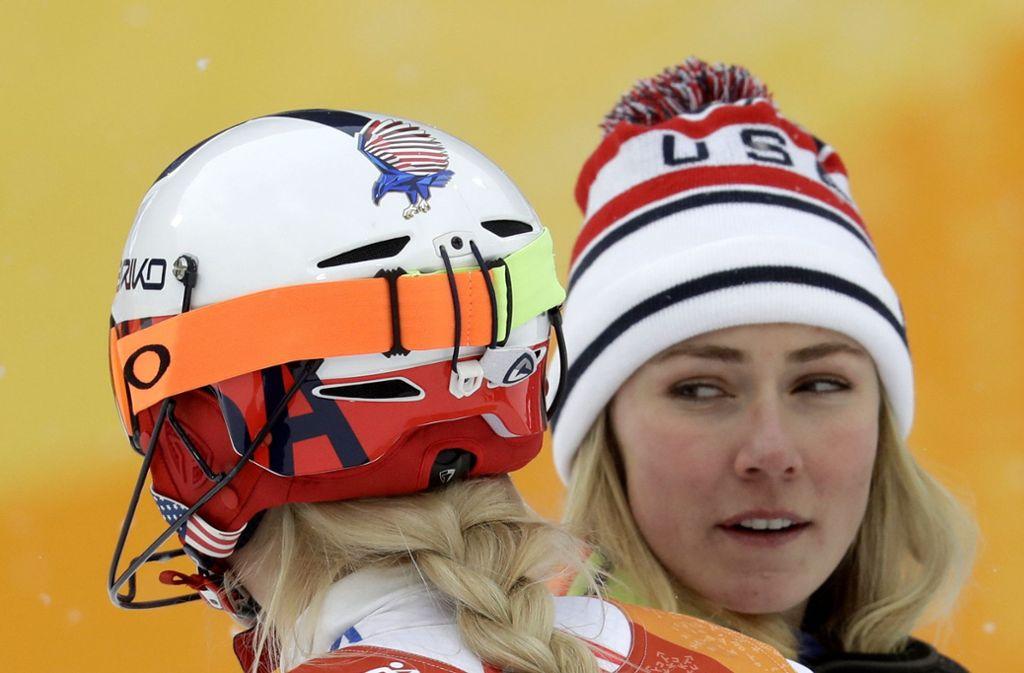 Mikaele Shiffrin (rechts) und Lindsey Vonn haben sich fest im Blick. Foto: AP