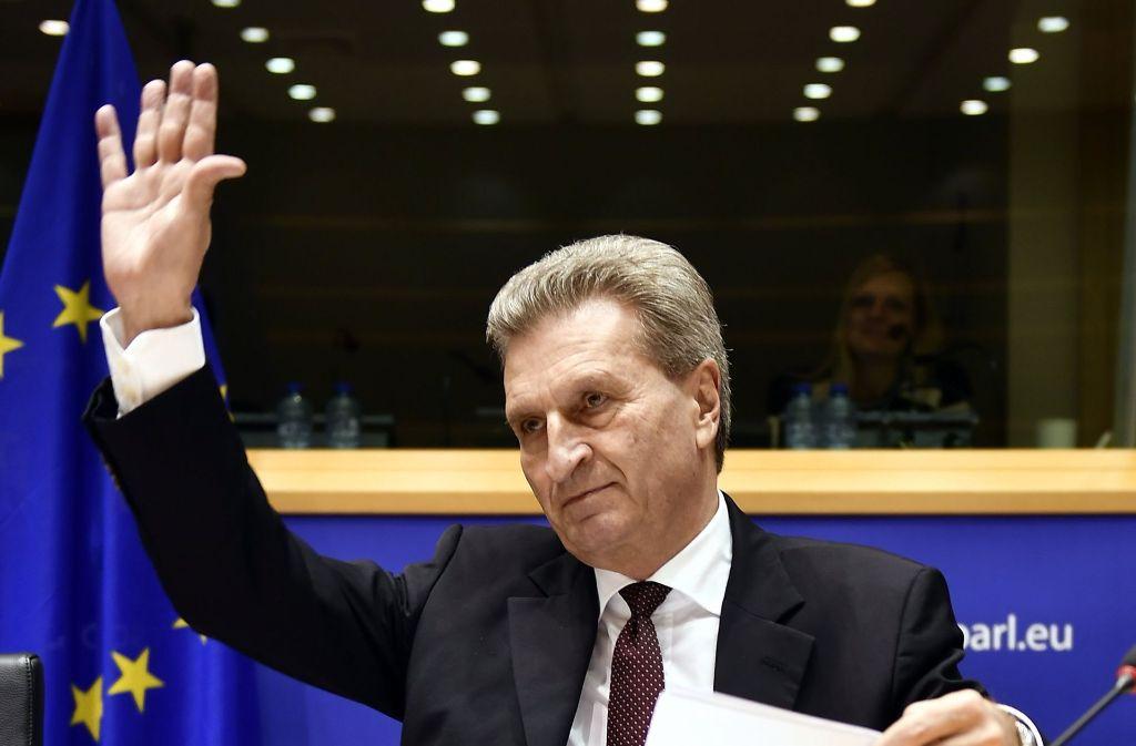 Günther Oettinger im Europäischen Parlament. Foto: Belga