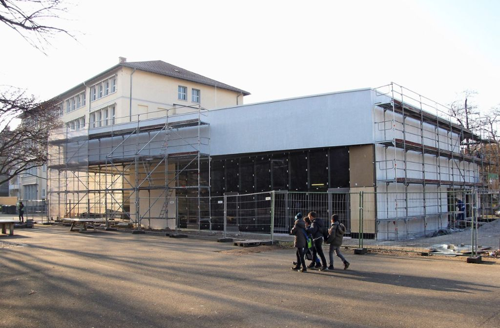Die Arbeiten für die neue Mensa der Martin-Luther-Schule gehen in die Endphase. Foto: Edgar Rehberger