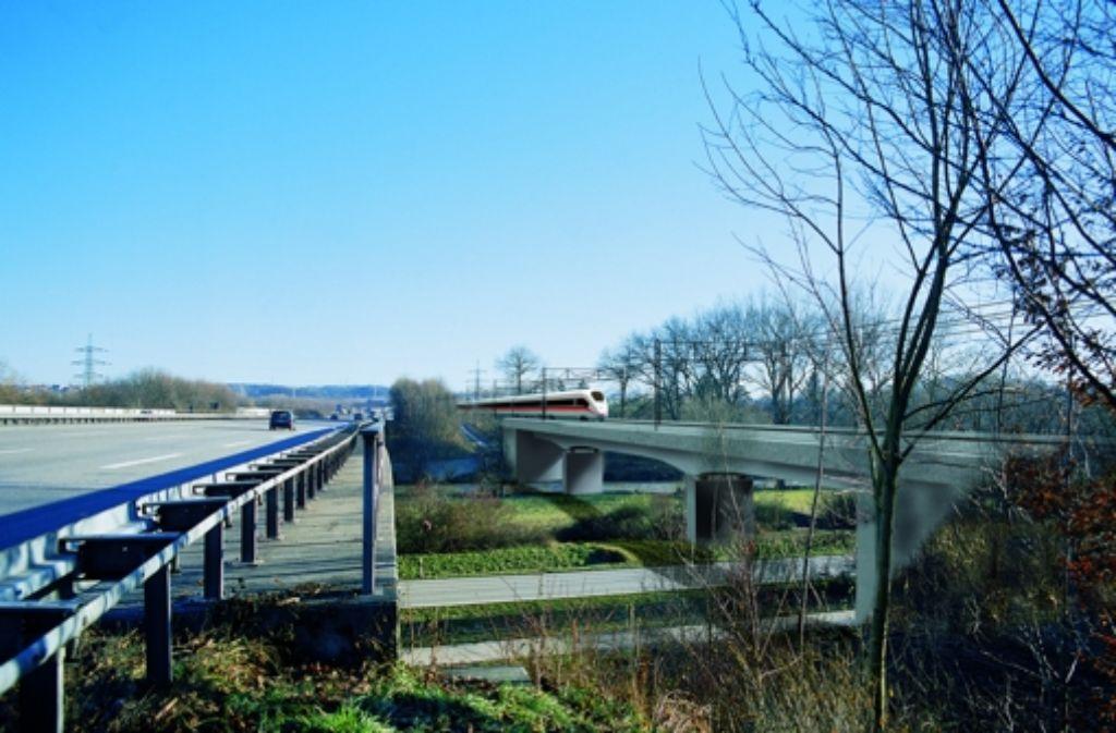 So soll die neue Bahnbrücke bei Wendlingen neben der A8 aussehen. Foto: Next Edit