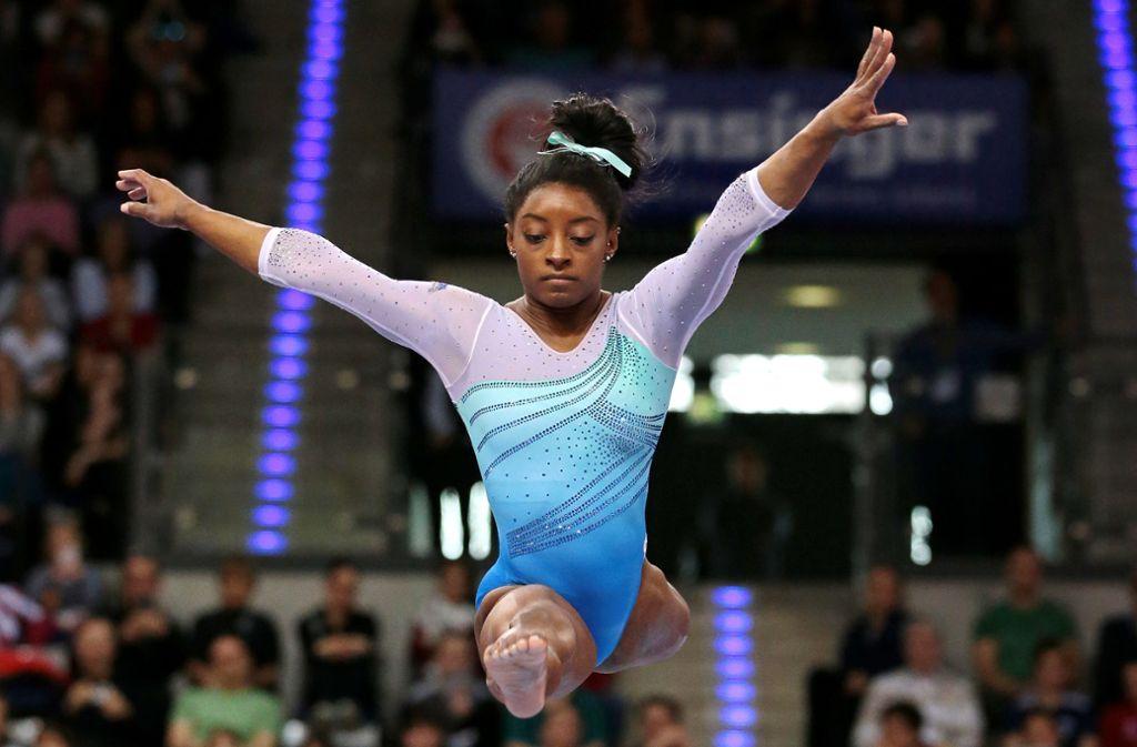 Für die Weltmeisterschaften in Stuttgart hat die 22-jährige Simone Biles hohe Ambitionen. Foto: Pressefoto Baumann