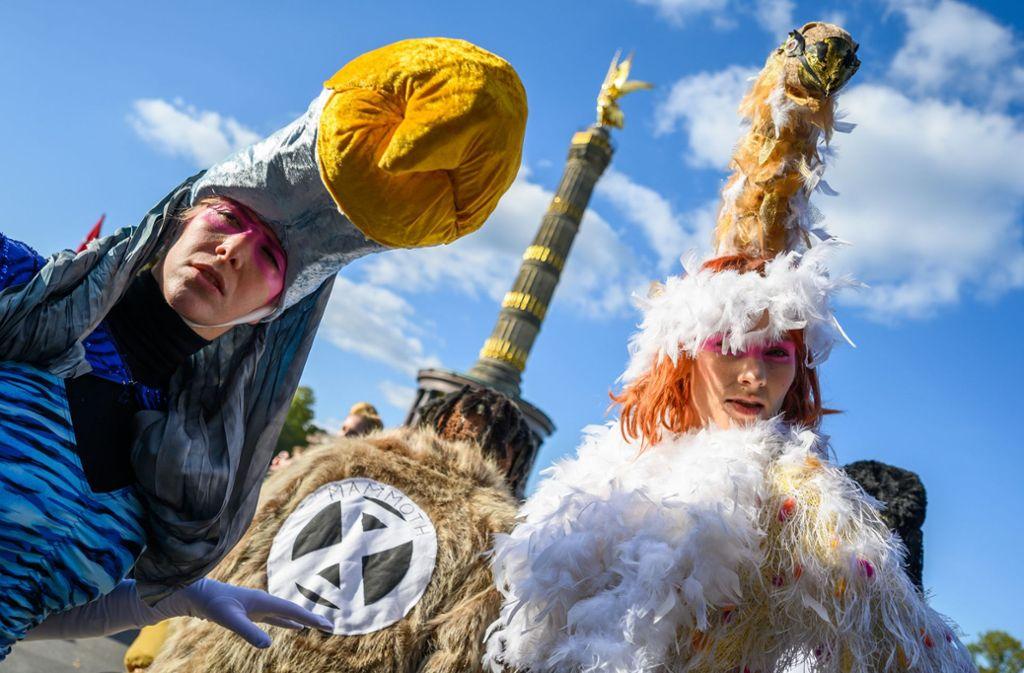 Klimademonstranten in Berlin. Foto: dpa/Christophe Gateau