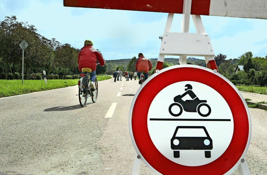 Entschleunigung: wo sonst Autos mit 80 Stundenkilometern durch das Tiefenbachtal fahren, wird am Sonntag gemütlich geradelt und spazieren gegangen. Foto: Hass/Archiv