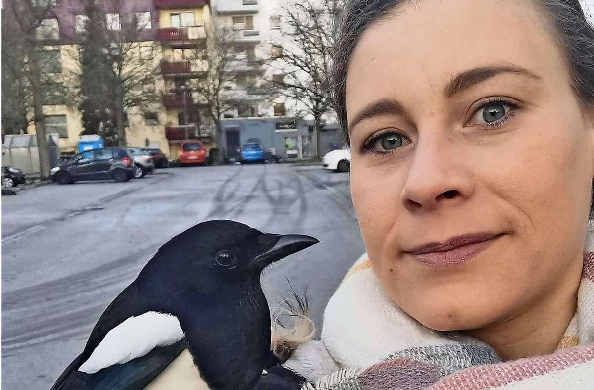 Isabell Houssein Oglou mit Tweety – oder wie diese Elster auch immer heißt. Foto: privat