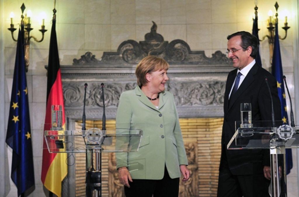 Gute Stimmung in schlechter Lage: Angela Merkel und Antonis Samaras Foto: dpa