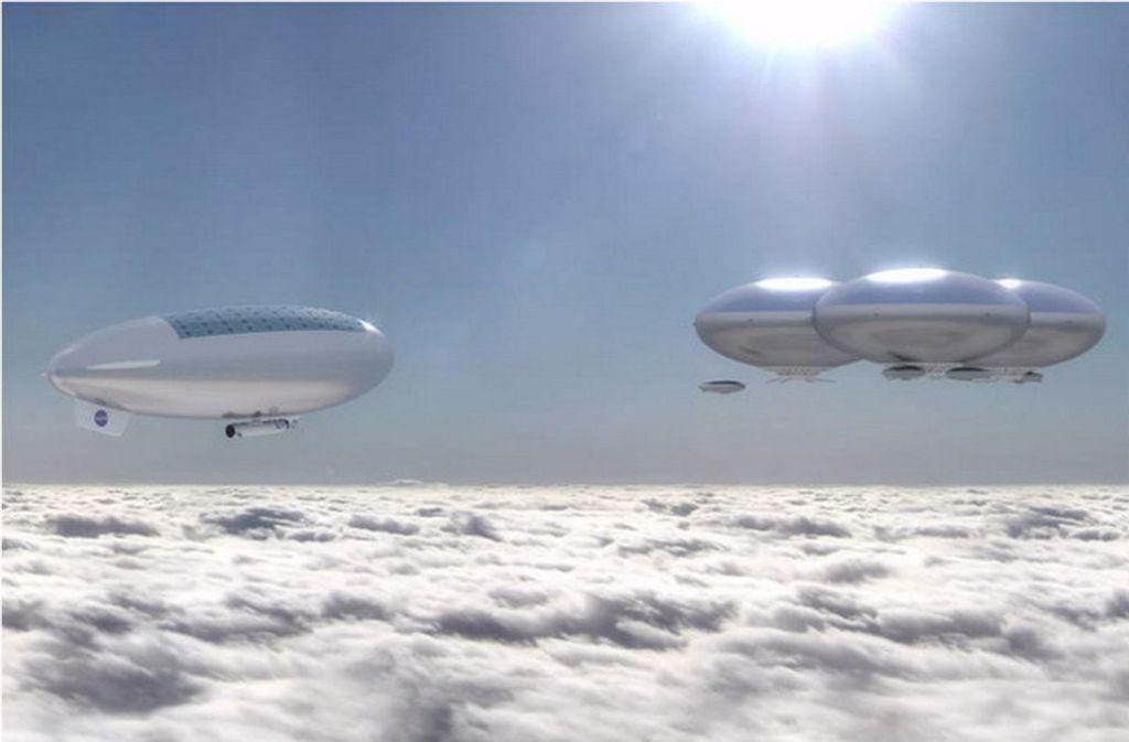 So stellt sich die Nasa die riesigen Luftschiffe vor, die in der Atmosphäre der Venus als mobile Station für Astronauten kreisen sollen. Foto: Wikipedia commons/Nasa