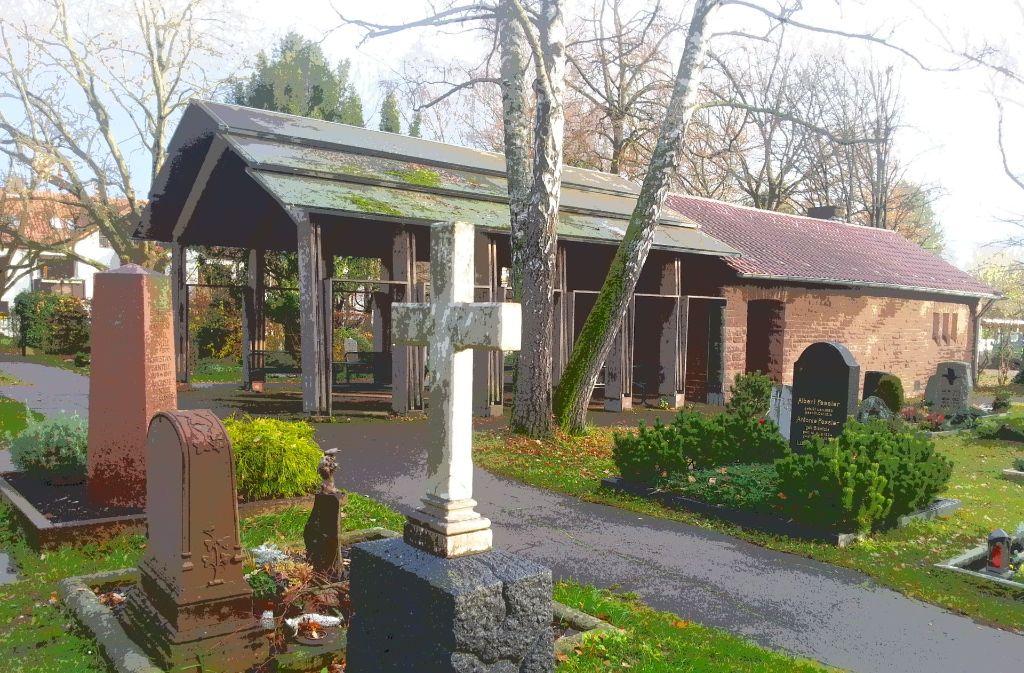 Noch ist die Feierhalle auf dem Birkacher Friedhof nach drei Seiten hin offen. Das könnte sich im nächsten Jahr ändern. Foto: Judith A. Sägesser