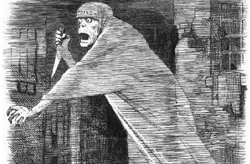 """Jack the Ripper, das Phantom von Whitechappel: zeitgenössische Karikatur mit dem Titel """"The Nemesis of Neglect"""" aus der satirischen Zeitschrift """"Punch"""" aus dem Jahr 1888. Foto: Wikipedia commons/John Tenniel – Punch, or The London Charivai"""