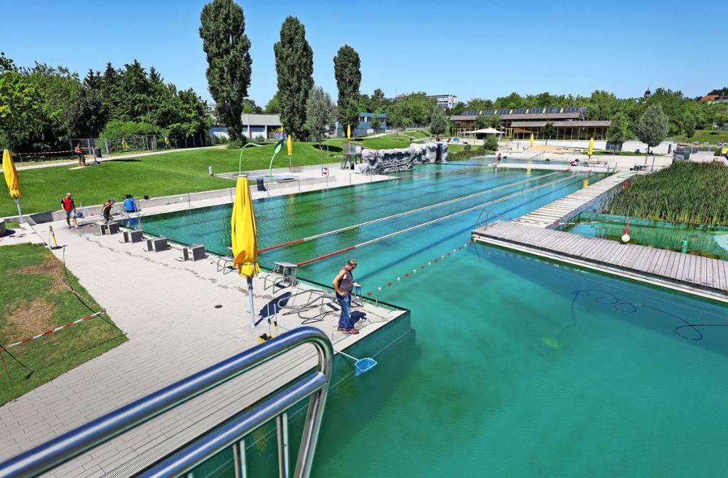 Wird umfassend gereinigt: Im Naturfreibad ist nur das Schwimmerbecken gesperrt, die restliche Anlage ist geöffnet Foto: factum/