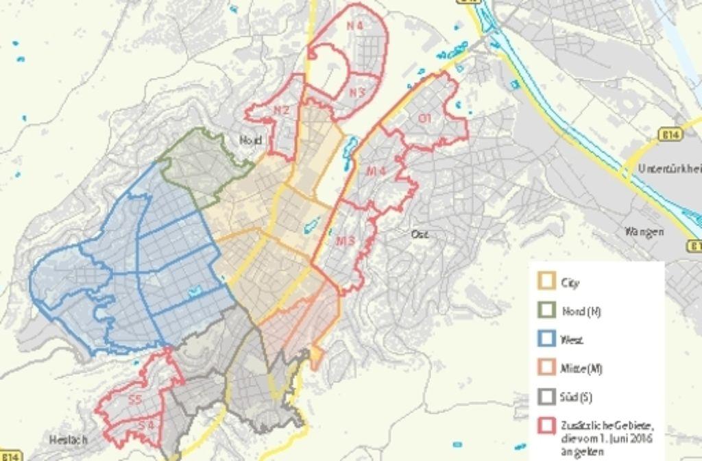 Die neuen Parkraumgebiete ab 1. Juni in den Innenstadtbezirken Foto: Zapletal, StN-Bearbeitung: Yann Lange; Quelle: Stadt Stuttgart