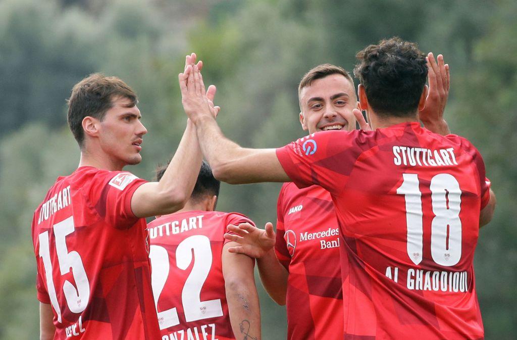 Gute Laune im Trainingslager des VfB Stuttgart. Foto: Pressefoto Baumann